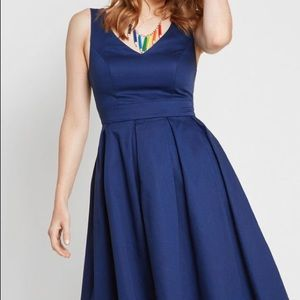 ModCloth Triumphantly Timeless Pleated Dress Med